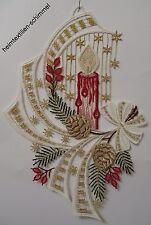 PLAUENER SPITZE ® Fensterbild WINTER Weihnachten KERZE Schleife rot Fensterdeko
