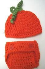 CROCHET BABY PUMPKIN HAT DIAPER COVER SET knit infant toddler beanie photo prop