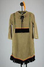 Native American Girl Costume 2 Piece Tan Poly Suede Dress & Headpiece
