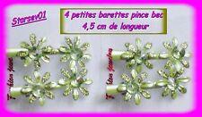 4 PETITES BARETTES PINCE BEC ENFANT VERTE AVEC PAILLETTES 4,5 CM DE LONG