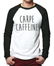 Carpe Caffeine Men Baseball Top - Fashion Slogan Tee