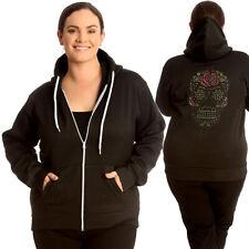 New Womens Plus Size Hoodies ladies Sugar Skull Top Fleece Drawstring Warm Zip