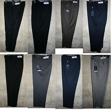 NWT CHAPS Flat front Dress pants 4 pocket zipper Black Tan Navy Gray Wool Poly