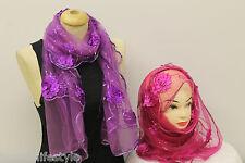 Onorevoli belle lucenti Paillettes Fiore Party netto l'hijab Sciarpa Stola Scialle neckwrap