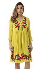 NEW RIVIERA SUN Women XL-1X-2X-3X EMBROIDERED Long SLEEVE Sun Dress Beach Cover