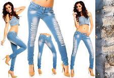 Da Donna Blue Jeans Strappato Sexy Destroyed Slim Skinny Taglia 8 10 12 GEMME Catena