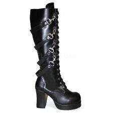 DEMONIA GOTHIKA 209 Ladies Black Goth Punk Lolita Block Hell 4 Chain Lace Up