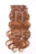 #12 hellbraun GEWELLTE CLIP IN Remy Hair Extensions Echthaar Haarverlängerung