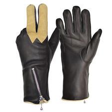 Goldtop Black Leather Churchills Cafe Racer Motorcycle Gloves with Visor Wipe
