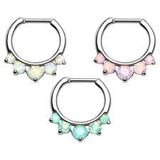 Septum Piercing Ohr Universal Helix Cartilage Ring Clicker Opal Stein Spitzen