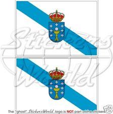 """Bandera GALICIA GALLEGA España Galiza galego bandera 100 mm (4"""") x2 pegatinas, calcomanías"""