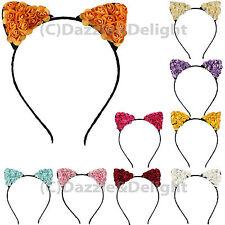 FLOWER CAT EARS HEADBAND PRETTY HAIRBAND FESTIVAL FLOWERS HAIR FANCY DRESS METAL
