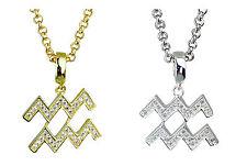 AQUARIUS ZODIAC simbolo argento o oro placcato pendente-horoscopes STAR segni