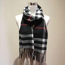 Unisex Soft Warm Color Black Camel in Check Tartan Print Long Scarf