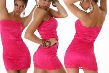 Sexy Miss señora bandeau mini vestido punta dress S/M 34/36 M/L 36/38 rosa nuevo