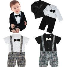 Baby Boy Wedding Formal Tuxedo Suit Bowtie Gentleman Shirt Pants Newborn Outfit