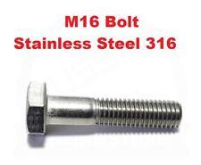 Hex Set Bolt M16 (16mm) Screw Marine Grade 316 Stainless Steel Metric Coarse