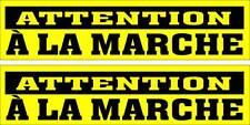 LOT DE 2 AUTOCOLLANTS LUSTRÉ, ATTENTION À LA MARCHE, INTÉRIEUR OU EXTÉRIEUR
