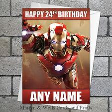 Tarjeta De Cumpleaños Avengers: Iron Man. Personalizados, además de envolvente. Marvel.