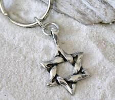 STAR OF DAVID JEWISH Pewter KEYCHAIN Key Ring
