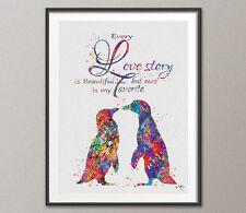 Penguin Love Watercolor Art Print Geek Nerd Love Wedding Gift Wall Art Decor 2