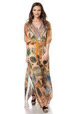 femme tunique Leopard vert impression strass beige mode femme caftanuy 14677