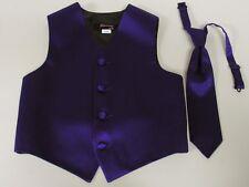 Vest Boys Lapis / Purple Satin Hand Tie Ring Bearer Wedding Party Birthday fun