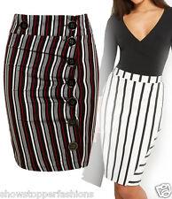 Nueva Falda Lápiz De Botón Para Mujer A Rayas ajustada señoras faldas de tubo talla 8 10 12 14