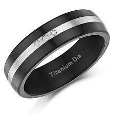 Titanio negro esmaltado Diamante Juego 7mm Anillo