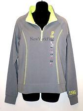 VICTORIA'S SECRET LOVE PINK JACKET Half Zip Up Sweater Shirt Yoga Neon Green P