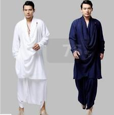 2Pics Mens Chinese Kongfu Harem 100% Linen Coats Suits Jacket&Pants Trousers