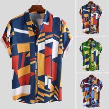 Mens Contrast Color Geometric Printed Turn Down Collar Short Sleeve Loose Shirt