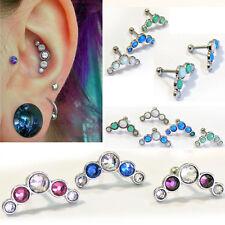 1-4 Helix Tragus Ear Bent Piercing Steel 5 CZ Crystal or Opal Stud Jewelry Stud