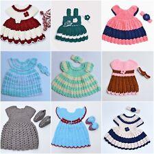 Baby Girls Woolen Handmade with Premium Knitting Wool Party Wear Frock