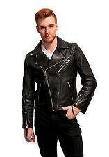 Men's Genuine Lambskin Leather Jacket Black Slim fit Motorcycle Biker jacket