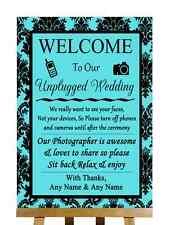Tiffany Blue Black Damask No Phone Camera Unplugged Personalised Wedding Sign