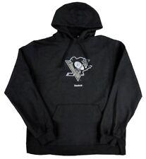 bc02361fb Pittsburgh Penguins NHL Reebok Distressed Logo Black Fleece Hooded  Sweatshirt