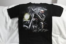 SKELETON SKULL BIKER MOTORCYCLE RIDE TILL T DIE T-SHIRT