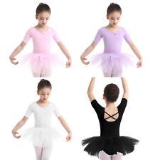 Mädchen Kleid Ballettanzug Ballettkleid Kurzarm Ballett Trikot mit Tütü Rock