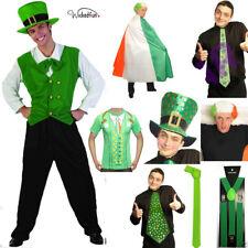 St Patrick's Day Unisex Disfraz irlandés T Shirt Bandera Pelucas lazos Cape Sombreros Todo En 1