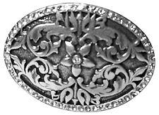 fronhofer ovale boucle de ceinture avec imprimé floral & strass argent vieilli,
