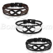 Fashion Love Infinity Symbol Friendship Men's Women's Leather Bracelet Wrap Cuff
