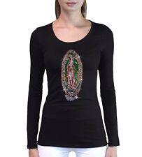 Junior's Rhinestone Virgin Mary T Shirt L/S Virgen De Guadalupe Maria Catholic