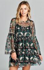 GORGEOUS VELZERA LINED BLACK GREEN WINE FLORAL LACE BOHO GYPSY DRESS S M L