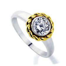 Women Rhodium Plated Sterling Silver 2Tone Roud 1 carat CZ Bezel Engagement Ring