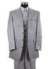 Men's 4 Button Shiny Shadow Stripe Suit w/ Vest Joker Costume 2915V Gray(Silver)