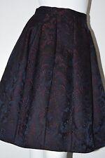 New Oscar De La Renta Fall 2016 Navy Burgundy Jacquard Floral Full Skirt 0 2 4