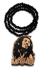 WOODEN BOB MARLEY PENDANT CHAIN NECKLACE GOOD WOOD RASTA JAMAICAN REGGAE MUSIC