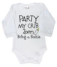 """FUNNY BABY BODY """"Festa del mio lettino 2am porta una bottiglia"""" manica lunga Babygrow"""
