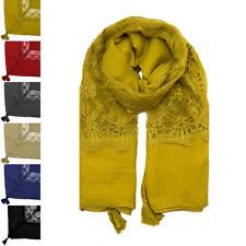Woman Fashion Lace Plain Tassels Soft Square Cotton Autumn Winter Warm Scarf UK
